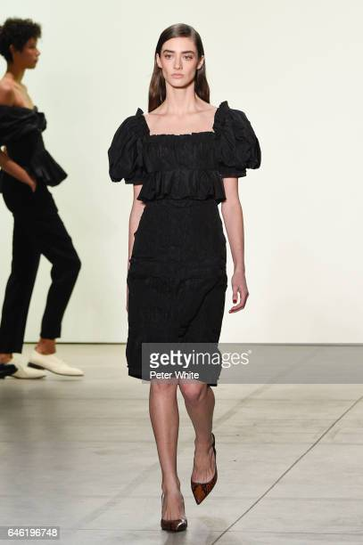 Amanda Googe walks the runway at Brock Collection Show during New York Fashion Week Fall Winter 20172018 at Gallery 2 Skylight Clarkson Sq on...
