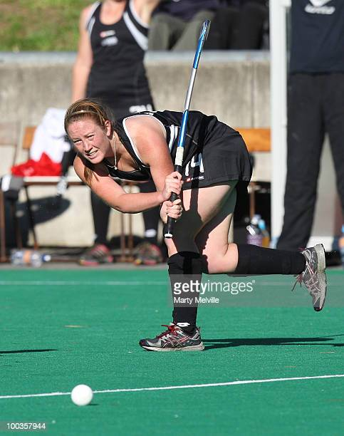 Amanda Green of the Blacksticks in action during the 4th Hockey test at the National Hockey Stadium on May 22 2010 in Wellington New Zealand