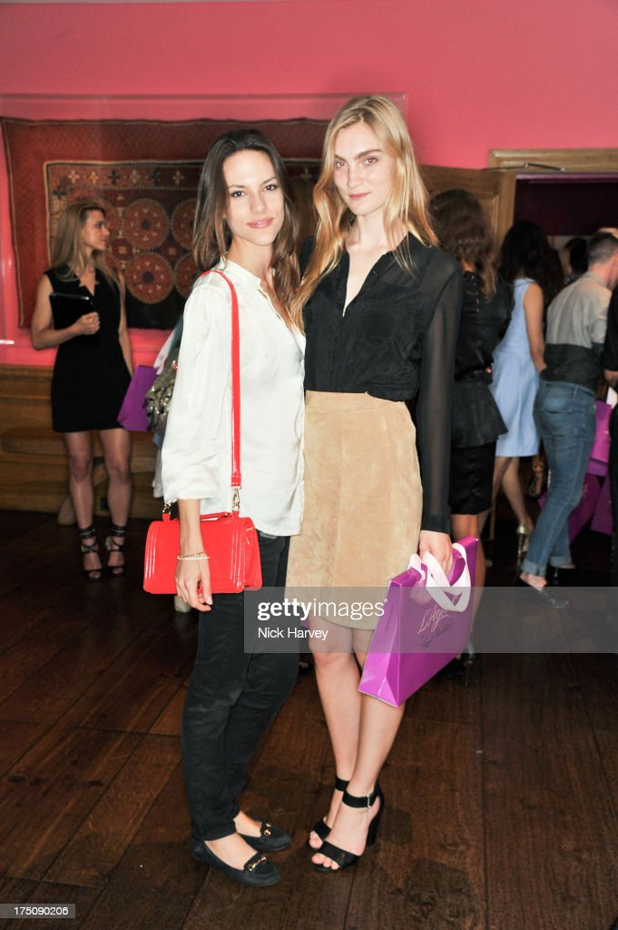 Amanda Gresser and Eloise Showering attend the launch of 'L'Agent' Campaign film by Agent Provocateur and directed by Penelope Cruz at Soho Hotel on July 31, 2013 in London, England.