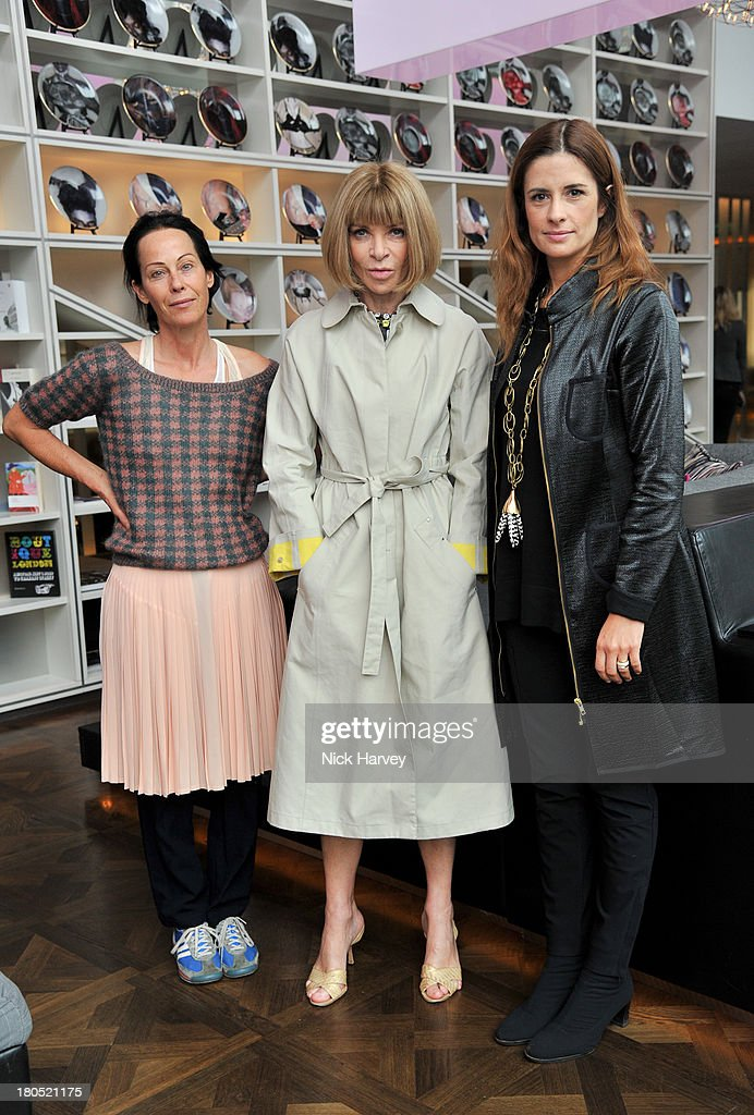 Amanda Harlech, <a gi-track='captionPersonalityLinkClicked' href=/galleries/search?phrase=Anna+Wintour&family=editorial&specificpeople=202210 ng-click='$event.stopPropagation()'>Anna Wintour</a> and Livia Firth attend the Eco-Age and Green Carpet Challenge screening of Handprint at W London - Leicester Square on September 14, 2013 in London, United Kingdom.