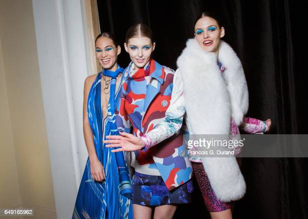 Amanda Harvey and models pose backstage before the Leonard Paris show as part of the Paris Fashion Week Womenswear Fall/Winter 2017/2018 on March 6...