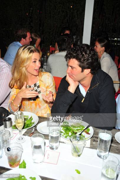 Amanda Hearst and Alejandro Santo Domingo attend Peter Davis hosts MINNIE MORTIMER dinner sponsored by Sagatiba at Surf Lodge Montauk NY on July 11...