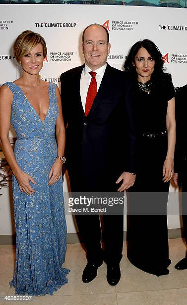 Amanda Holden Albert II Prince of Monaco and Renu Mehta attend the Fortune Forum Champagne Reception at The Dorchester on January 15 2014 in London...