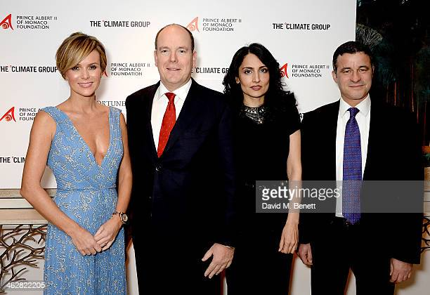Amanda Holden Albert II Prince of Monaco Renu Mehta and CEO of The Climate Group Mark Kenber attend the Fortune Forum Champagne Reception at The...