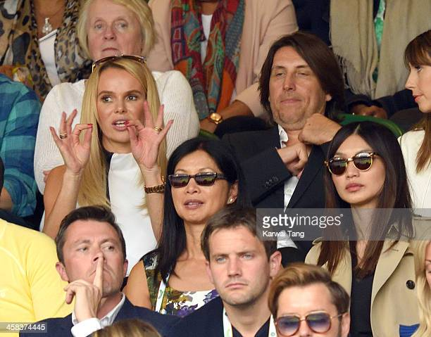 Amanda Holden and Chris Hughes attend day six of the Wimbledon Tennis Championships at Wimbledon on July 02 2016 in London England