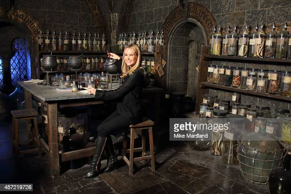 Amanda Holden attends the launch of the first new permanent feature devoted to The Dark Arts at Warner Bros Studio Tour London on October 14 2014 in...