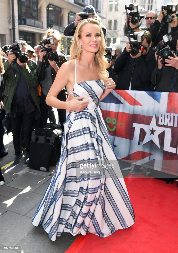 Amanda Holden attends the red carpet arrivals for the new series of Britain's Got Talent at the Mayfair Hotel on April 12, 2017 in London, United Kingdom.