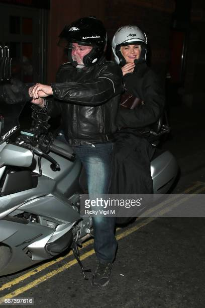 Amanda Holden leaving Vaudeville Theatre after her performance in 'Stepping Out' on April 11 2017 in London England