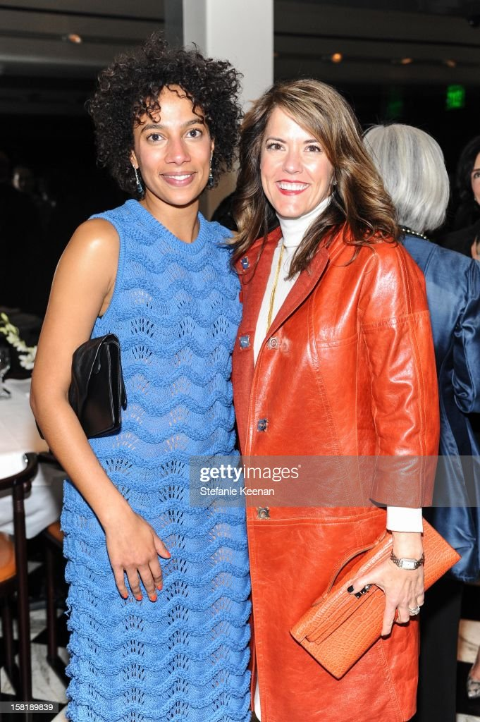 Amanda Hunt and Maureen Kassel-Stockton attend LAXART Vision dinner At Mr. Chow sponsored by Jay Carlile and Guess at Mr. Chow on December 10, 2012 in Los Angeles, California.