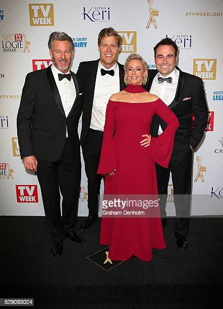 Amanda Keller Chris Brown Miguel Maestre and Barry Du Bois arrive at the 58th Annual Logie Awards at Crown Palladium on May 8 2016 in Melbourne...