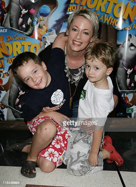 Amanda Keller with children Liam and Jack attend the Australian premiere of 'Horton Hears a Who' at the Hoyts Cinema on March 9 2008 in Sydney...