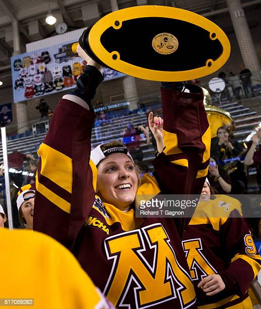Amanda Kessel of the Minnesota Golden Gophers celebrates after winning the 2016 NCAA Division I Women's Hockey Frozen Four Championship against the...