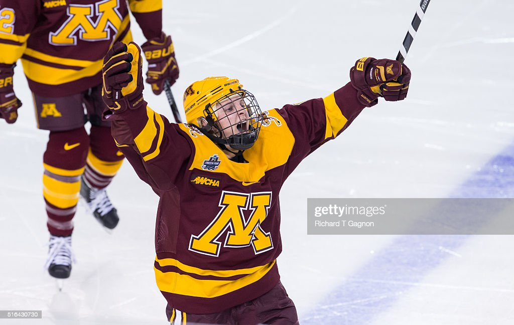 <a gi-track='captionPersonalityLinkClicked' href=/galleries/search?phrase=Amanda+Kessel&family=editorial&specificpeople=9030355 ng-click='$event.stopPropagation()'>Amanda Kessel</a> #8 of the Minnesota Golden Gophers celebrates her goal against of the Wisconsin Badgers during game two of the 2016 NCAA Division I Women's Hockey Frozen Four Championship Semifinals at the Whittemore Center Arena on March 18, 2016 in Durham, New Hampshire.