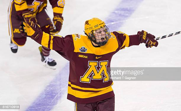Amanda Kessel of the Minnesota Golden Gophers celebrates her goal against the Boston College Eagles during the 2016 NCAA Division I Women's Hockey...