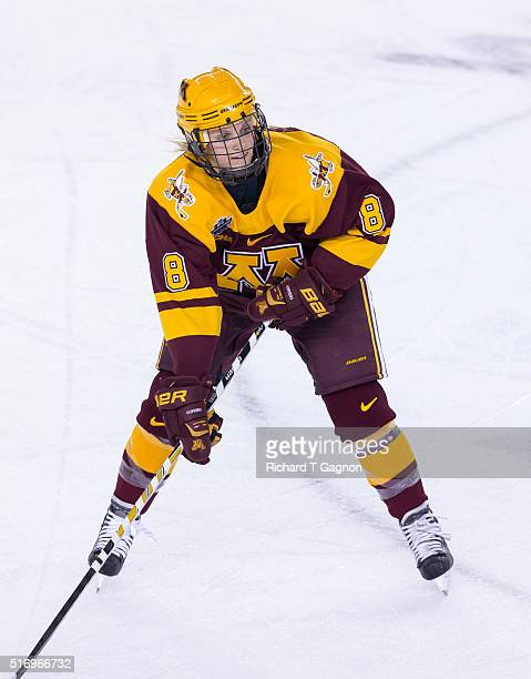 Amanda Kessel of the Minnesota Golden Gophers skates against the Wisconsin Badgers during game two of the 2016 NCAA Division I Women's Hockey Frozen...