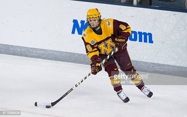 Amanda Kessel of the Minnesota Golden Gophers skates against the Boston College Eagles during the 2016 NCAA Division I Women's Hockey Frozen Four...