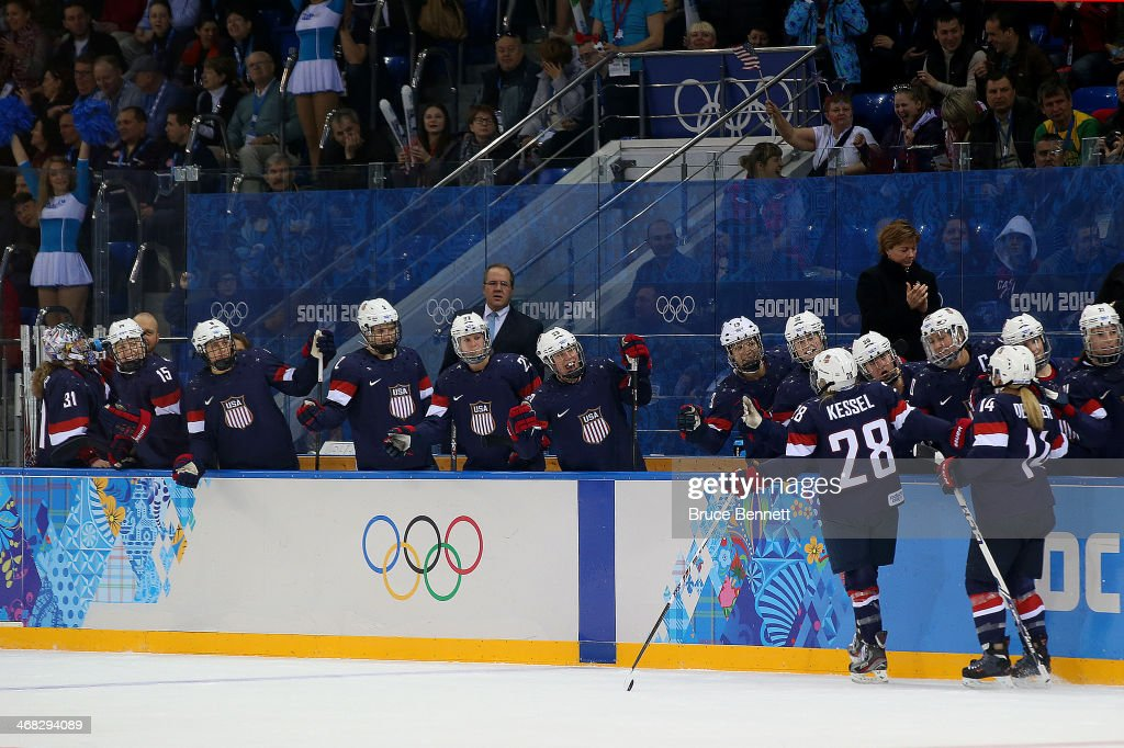 <a gi-track='captionPersonalityLinkClicked' href=/galleries/search?phrase=Amanda+Kessel&family=editorial&specificpeople=9030355 ng-click='$event.stopPropagation()'>Amanda Kessel</a> #28 of United States celebrates with team-mates after scoring her team's fifth goal in the first period during the Women's Ice Hockey Preliminary Round Group A game on day three of the Sochi 2014 Winter Olympics at Shayba Arena on February 10, 2014 in Sochi, Russia.