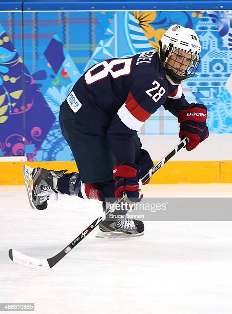 Amanda Kessel of United States in action during the Women's Ice Hockey Preliminary Round Group A game against Switzerland on day three of the Sochi...