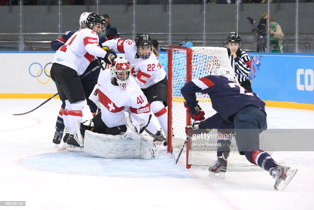 <a gi-track='captionPersonalityLinkClicked' href=/galleries/search?phrase=Amanda+Kessel&family=editorial&specificpeople=9030355 ng-click='$event.stopPropagation()'>Amanda Kessel</a> #28 of United States scores her team's second goal during the Women's Ice Hockey Preliminary Round Group A game on day three of the Sochi 2014 Winter Olympics at Shayba Arena on February 10, 2014 in Sochi, Russia.
