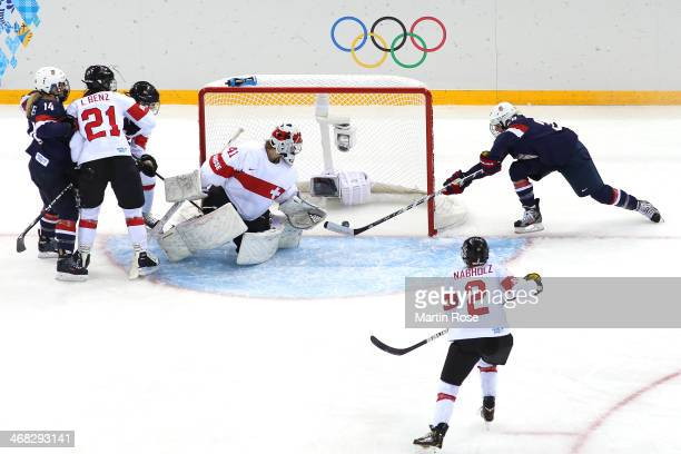 Amanda Kessel of United States scores her team's second goal during the Women's Ice Hockey Preliminary Round Group A game on day three of the Sochi...