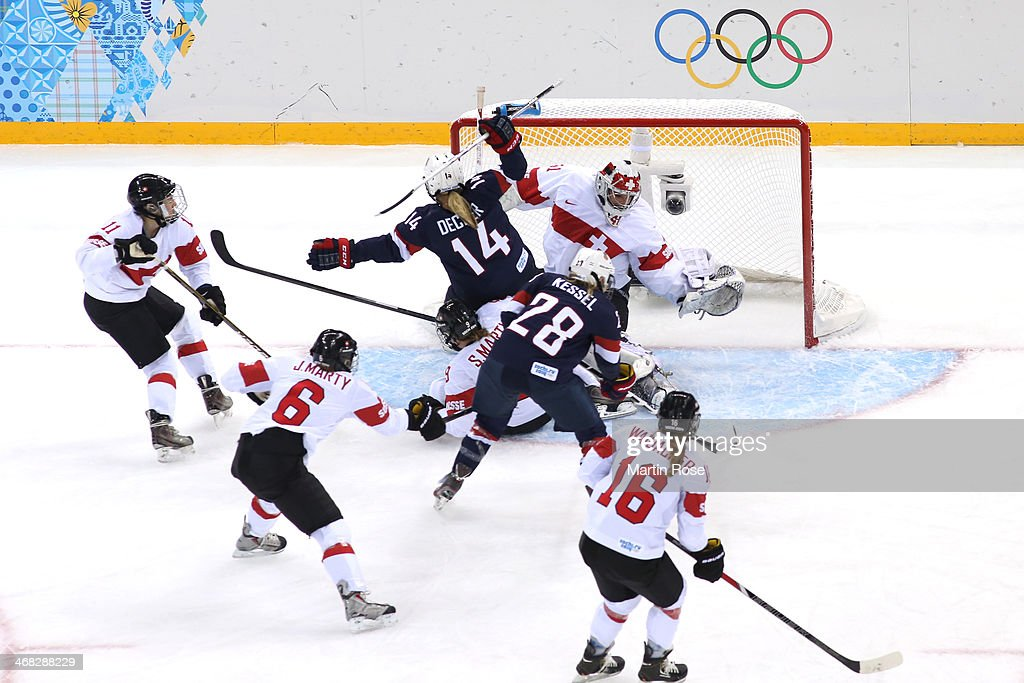 <a gi-track='captionPersonalityLinkClicked' href=/galleries/search?phrase=Amanda+Kessel&family=editorial&specificpeople=9030355 ng-click='$event.stopPropagation()'>Amanda Kessel</a> #28 of United States scores her team's third goal during the Women's Ice Hockey Preliminary Round Group A game on day three of the Sochi 2014 Winter Olympics at Shayba Arena on February 10, 2014 in Sochi, Russia.