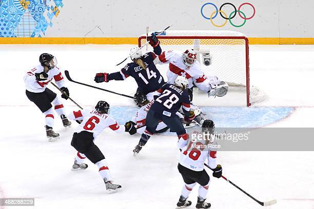 Amanda Kessel of United States scores her team's third goal during the Women's Ice Hockey Preliminary Round Group A game on day three of the Sochi...
