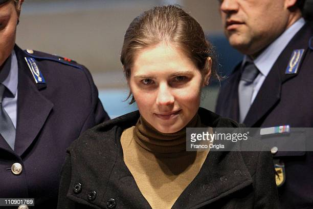 Amanda Knox arrives in Perugia's court of Appeal during a session of her appeal against her murder conviction on March 26 2011 in Perugia Italy...