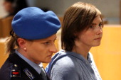 Amanda Knox arrives in Perugia's court of Appeal during the first session of her appeal against her murder conviction on November 24 2010 in Perugia...