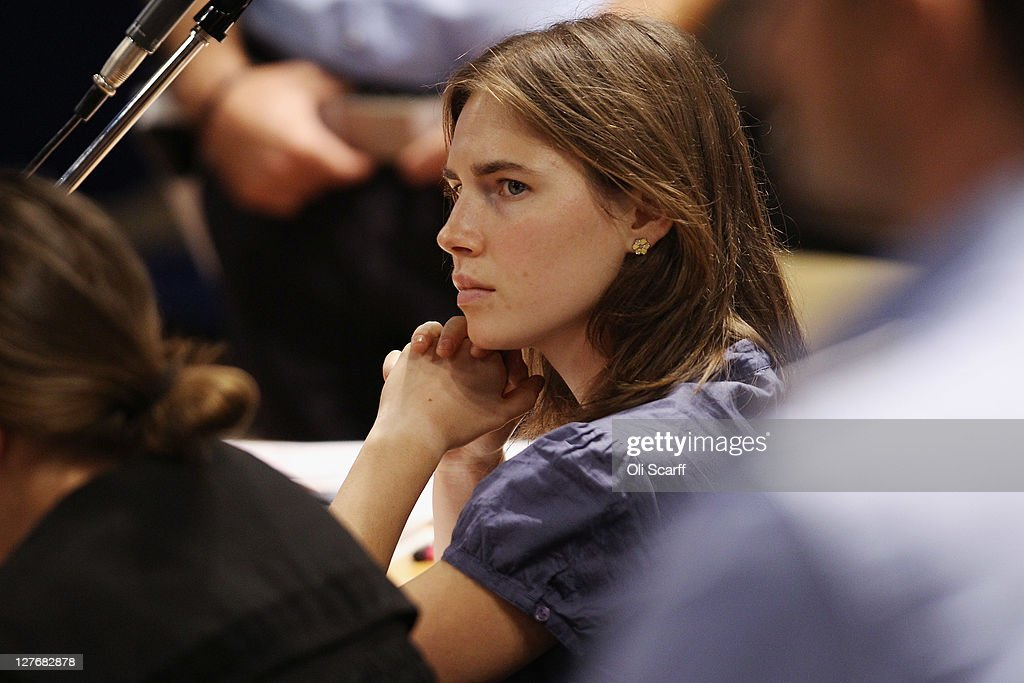 Amanda Knox attends her appeal hearing at Perugia's Court of Appeal on September 30, 2011 in Perugia, Italy. Amanda Knox and Raffaele Sollecito are awaiting the verdict of their appeal that could see their conviction for the murder of Meredith Kercher overturned. American student Amanda Knox and her Italian ex-boyfriend Raffaele Sollecito, who were convicted in 2009 of killing their British roommate Meredith Kercher in Perugia, Italy in 2007, have served nearly four years in jail after being sentenced to 26 and 25 years respectively.