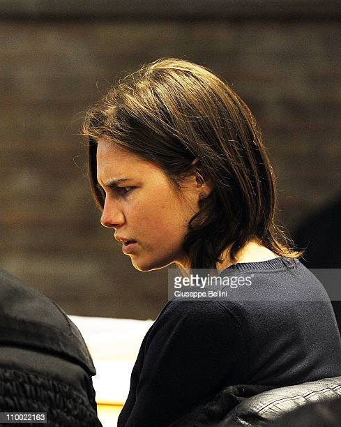Amanda Knox attends her appeal hearing to reconsider her guilty verdict in the murder of Meredith Kercher on March 12 2011 in Perugia Italy American...