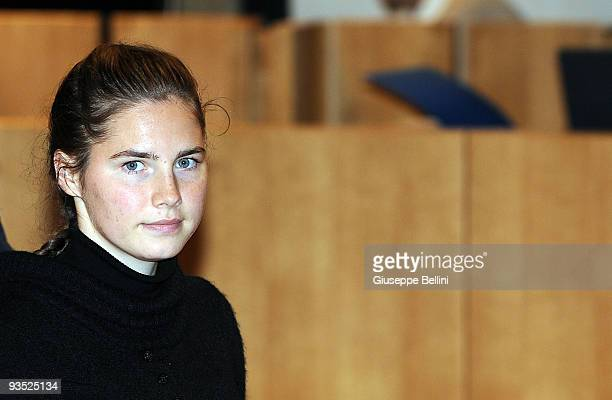 Amanda Knox attends the Meredith Kercher murder trial for the closing arguments on December 01 2009 in Perugia Italy Amanda Knox and her former...