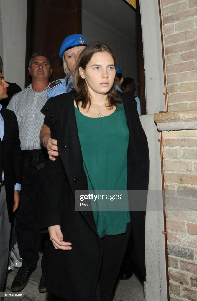 <a gi-track='captionPersonalityLinkClicked' href=/galleries/search?phrase=Amanda+Knox&family=editorial&specificpeople=4681704 ng-click='$event.stopPropagation()'>Amanda Knox</a> enters Perugia's Court of Appeal to learn that she won her appeal against her murder conviction on October 3, 2011 in Perugia, Italy. American student <a gi-track='captionPersonalityLinkClicked' href=/galleries/search?phrase=Amanda+Knox&family=editorial&specificpeople=4681704 ng-click='$event.stopPropagation()'>Amanda Knox</a> and her Italian ex-boyfriend Raffaele Sollecito have won their appeal against their conviction in 2009 of killing their British roommate Meredith Kercher in Perugia, Italy in 2007. The pair had served nearly four years in jail after initially being sentenced to 26 and 25 years respectively.