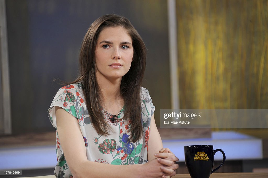 AMERICA - 5/1/13 - <a gi-track='captionPersonalityLinkClicked' href=/galleries/search?phrase=Amanda+Knox&family=editorial&specificpeople=4681704 ng-click='$event.stopPropagation()'>Amanda Knox</a> - the college junior who became the center of a dramatic murder trial in Italy, conviction and the court appeal that finally acquitted and freed her - speaks to Robin Roberts on GOOD MORNING AMERICA, airing on the ABC Television Network. (Photo by Ida Mae Astute/ABC via Getty Images) AMANDA