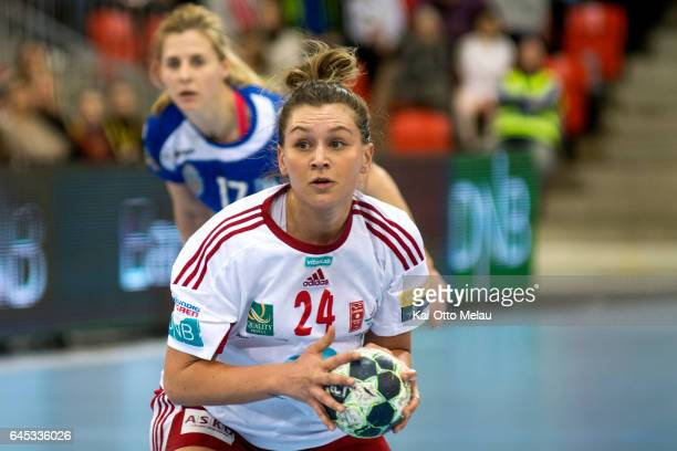 Amanda Kurtovic ready to shoot a penalty in the Women's EHF Champions league match between Larvik HK and CSM Bucuresti on February 25 2017 in Larvik...