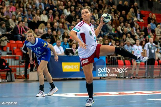 Amanda Kurtovic shoots a penalty in the Women's EHF Champions league match between Larvik HK and CSM Bucuresti on February 25 2017 in Larvik Norway