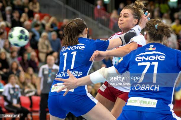 Amanda Kurtovic try to shoot past CSM Bucuresti defence in the Women's EHF Champions league match between Larvik HK and CSM Bucuresti on February 25...