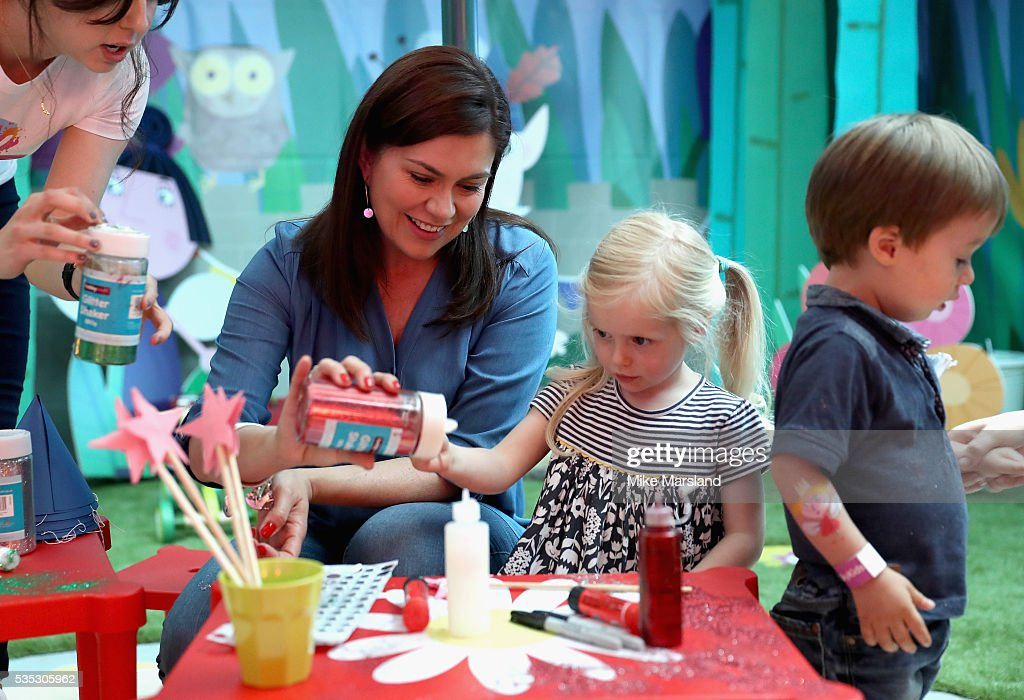 Amanda Lamb and her daughter attend the launch of the new Sky Kids Cafe, an imaginative play and themed cafe pop-up to celebrate the new Sky Kids app at The Vinyl Factory on May 29, 2016 in London, England.
