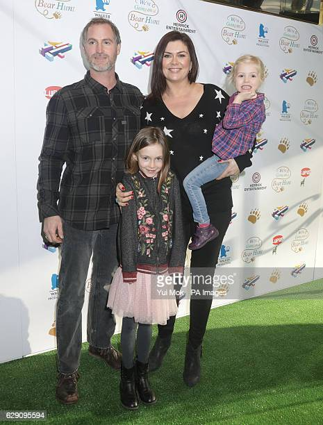 Amanda Lamb with her husband Sean McGuinness and their children Willow and Charlotte attending a screening of We're Going on a Bear Hunt at the...
