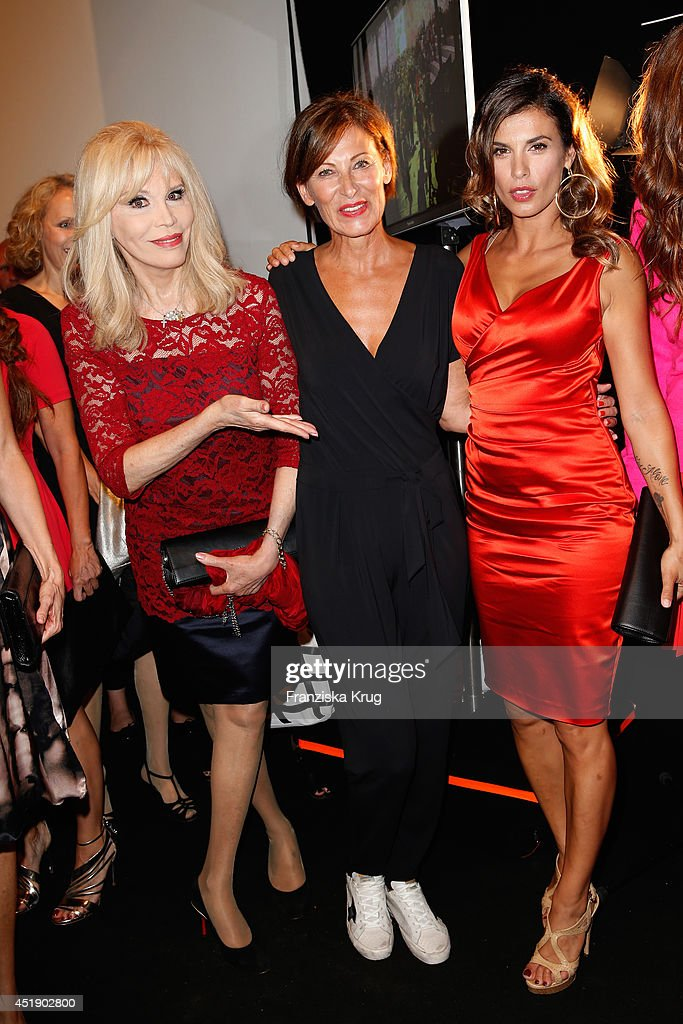 Amanda Lea, Eva Lutz and <a gi-track='captionPersonalityLinkClicked' href=/galleries/search?phrase=Elisabetta+Canalis&family=editorial&specificpeople=2292377 ng-click='$event.stopPropagation()'>Elisabetta Canalis</a> attend the Minx by Eva Lutz show during the Mercedes-Benz Fashion Week Spring/Summer 2015 at Erika Hess Eisstadion on July 9, 2014 in Berlin, Germany.