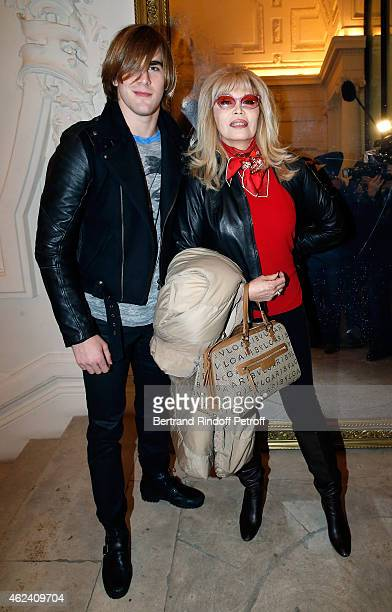 Amanda Lear and guest attend the Jean Paul Gaultier show as part of Paris Fashion Week Haute Couture Spring/Summer 2015 on January 28 2015 in Paris...