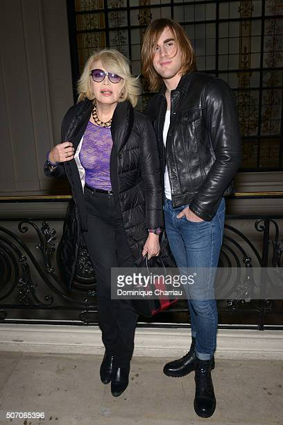 Amanda Lear and Hugo Marquez attend the JeanPaul Gaultier Haute Couture Spring Summer 2016 show as part of Paris Fashion Week on January 27 2016 in...
