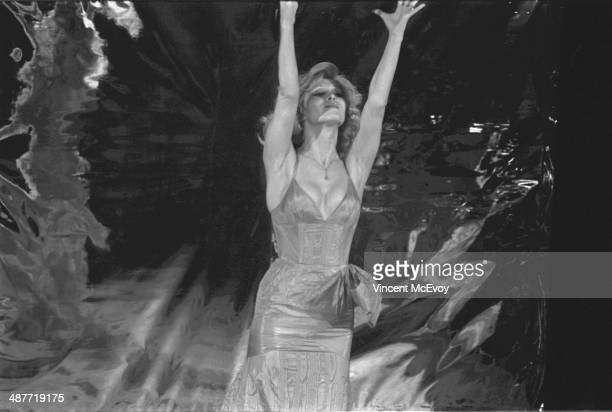 Amanda Lear appears at St Martin's Lane Theatre London 1975