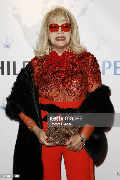 Amanda Lear arrives for the Children for Peace Gala Dinner at Cardinal Gallery on December 2 2017 in Rome Italy