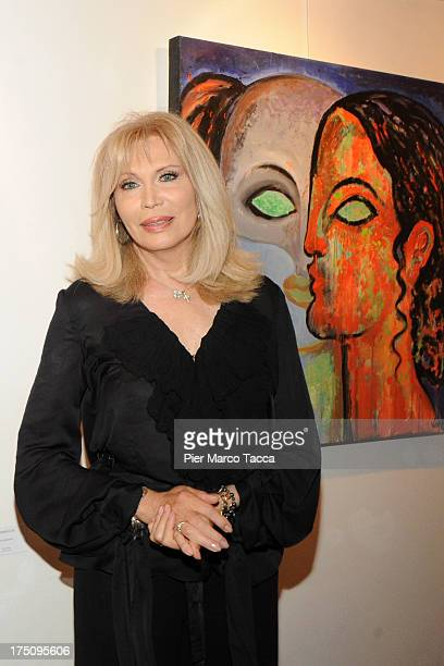 Amanda Lear attends opening of her exhibition at Milano Art Gallery on July 31 2013 in Milan Italy