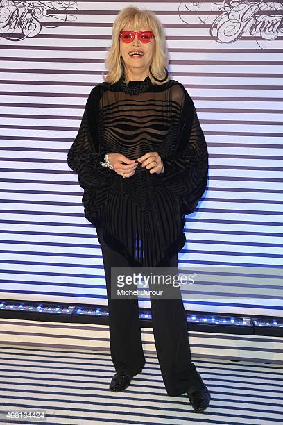 Amanda Lear attends the Jean Paul Gaultier Exhibition photocall at Grand Palais on March 30 2015 in Paris France