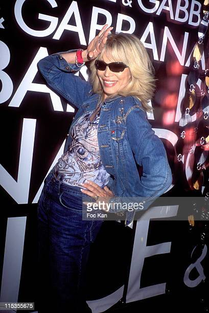 Amanda Lear during 2004 Cannes Film Festival The Dolce Gabbana Party Arrivals at VIP Room Club at the Palm Beach Casino in Cannes France