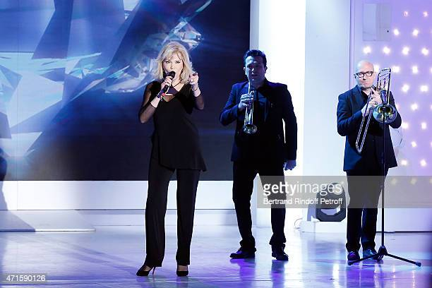 Amanda Lear performs during the 'Vivement Dimanche' French TV at Pavillon Gabriel on April 29 2015 in Paris France
