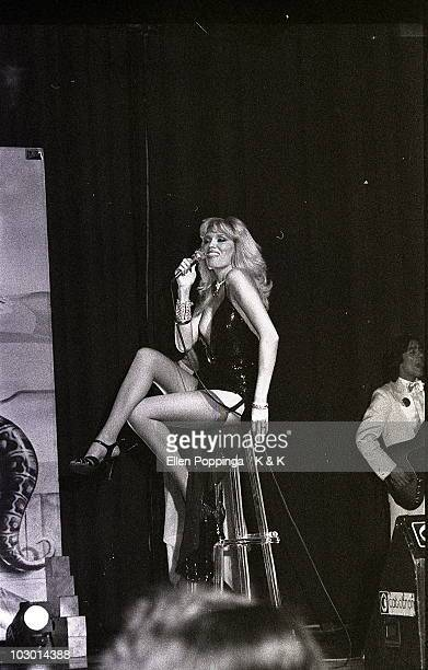 Amanda Lear performs live on stage in Germany in 1979