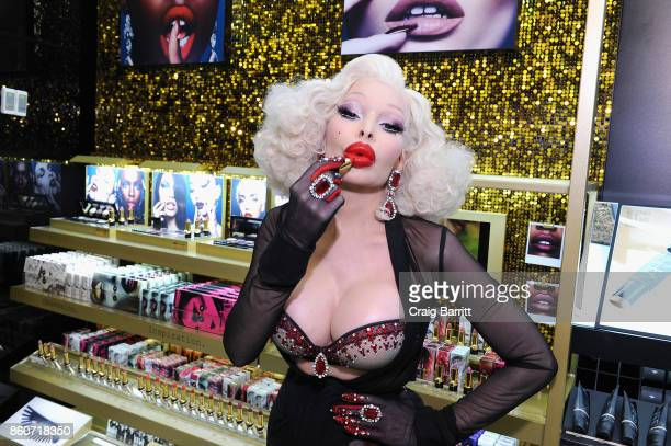 Amanda Lepore attends the PAT McGRATH LABS Unlimited Edition Launch at Sephora Herald Square on October 12 2017 in New York City