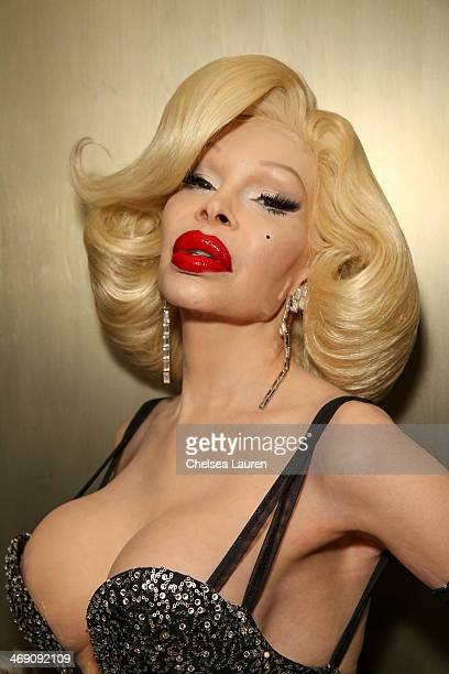 Amanda Lepore backstage at the The Blonds fashion show during MADE Fashion Week Fall 2014 at Milk Studios on February 12 2014 in New York City
